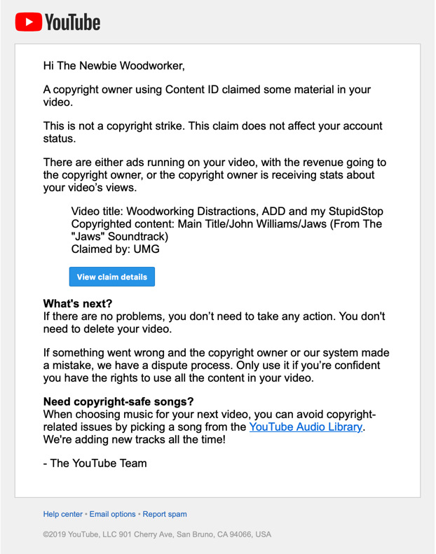 YouTube Videos, Copyright Claims, and stuff nobody notices